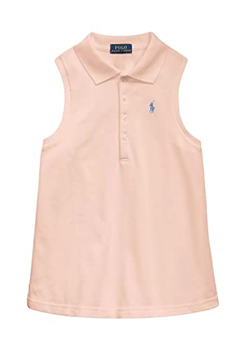 Polo Ralph Lauren Girl's Sleeveless Polo T-Shirt (Deco Coral/French Blue, X-Large (16))