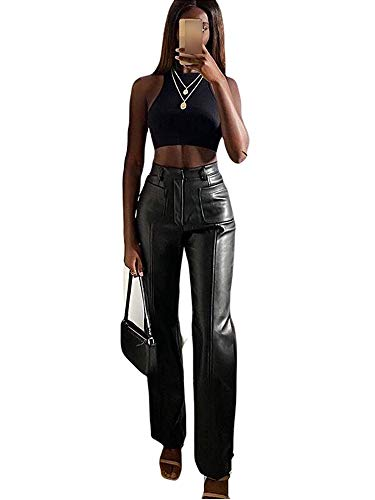 Shuyun Women Faux Leather Pants Solid Color High Waist Straight Wide Leg Leggings Slim Fit Trousers...