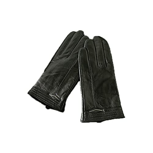 ATHX Men Sheep Leather Winter Touchscreen Lined Thermal Gloves (Black, S)