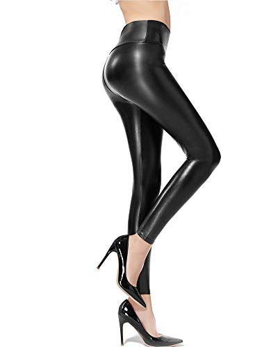 Ginasy Faux Leather Leggings Pants Stretchy High Waisted Tights for Women (Black, Medium)
