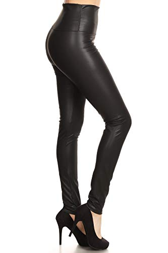 FXLD-Black-S Faux Leather High Waist Stretchy Leggings-Black, Small