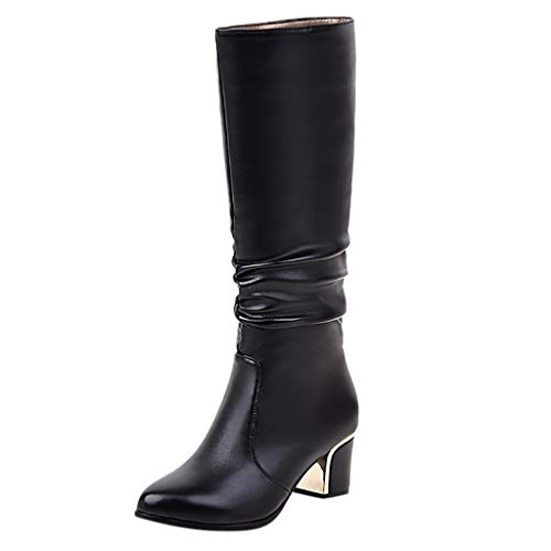 Knee High Boots for Women,Jchen Lady PU Leather Knee High Fall Winter Casual Boots Chunky Heels...