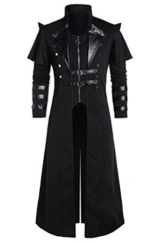 Men's Steampunk Trench Coat Victorian Slim Suit Collar Solid Double Breasted Zipper Coat