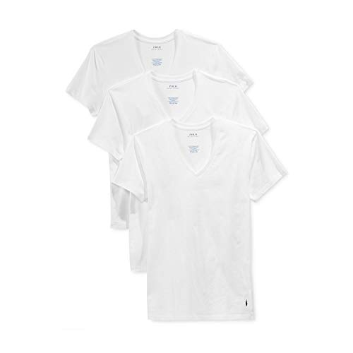 Polo Ralph Lauren Mens Classic Fit w/Wicking 3-Pack V-Necks 3 White/Cruise Navy PP MD One Size