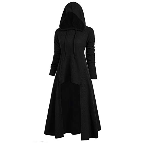 VEKDONE Women Gothic Hooded Jackets Plus Size Long Sleeve High Low Hooded Sweater Cloak Renaissance...