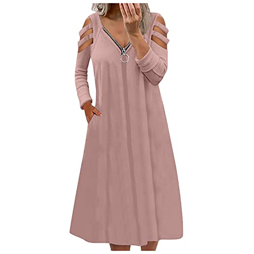 Summer Women Cold Shoulder Dress O-Neck Halter Solid Color Plus Size Casual Fashion Loose Sleeveless...