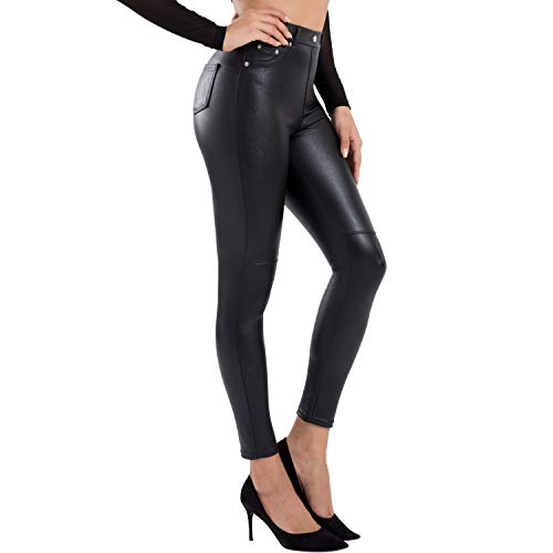 Tagoo Faux Leather Leggings for Women High Waisted Pleather Pants Black Stretch Tights with Pockets