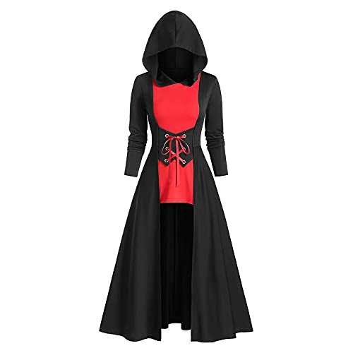 DAGCOT Womens Party Dress Womens Halloween Costumes Hooded Robe Lace Up Vintage Pullover High Low...