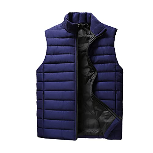 Mens Jacket Sleeveless Vest Winter Fashion Male Cotton-Padded Vest Coats Men Stand Collar Thicken...