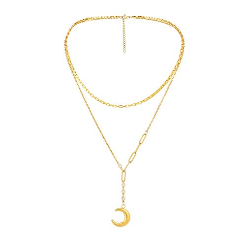Women's Pendant Necklaces, Dainty Layered Choker Necklace, Fashion Design Gold Plated Jewelry (Moon)