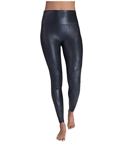 SPANX Faux Leather Quilted Leggings Very Black SM - Regular 26