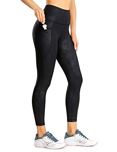 CRZ YOGA Women's Faux Leather Workout Leggings 23 Inches - High Waisted Yoga Pants Stretchy Capris...