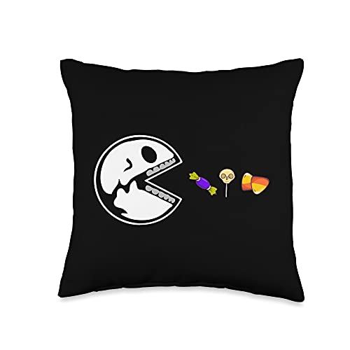 Zone - 365 Funny Halloween Skeleton Fans Skeleton Eats Candy Funny Halloween Lovers Throw Pillow,...