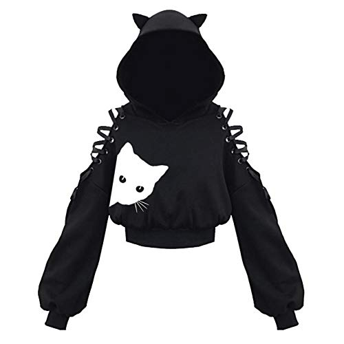 Cat Ear Hoodies For Women Plus Size Lace Up Hollow Out Drop Sleeve Teen Girls Gothic Punk...