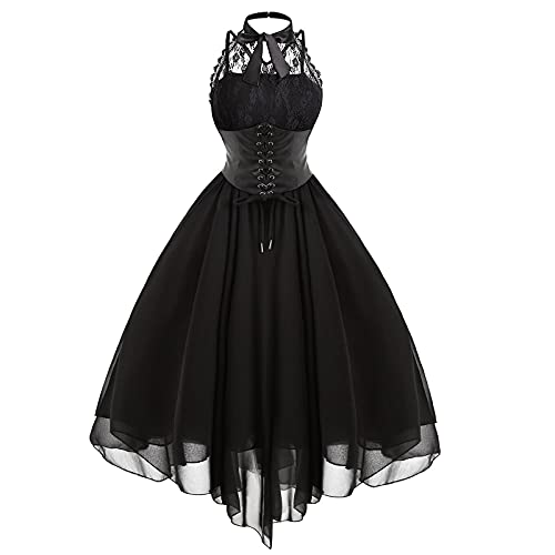 Women's Sleeveless Gothic Dress with Corset Halter Lace Swing Cocktail Dress Formal Halloween Punk...