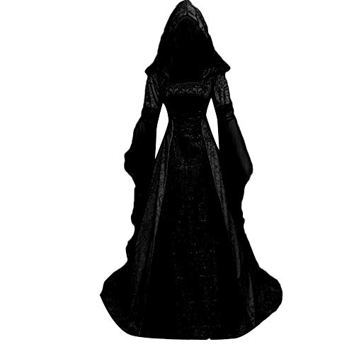 Women Lace Up Vintage Gothic Dress Medieval Renaissance Dress Victorian Retro Gown Cosplay Hooded...