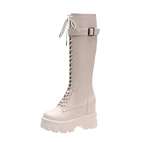 Thicken Knight Knee High Boots for Women Long Square Heel Boots Retro Thick Motorcycle Boots Beige...