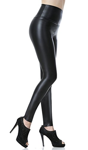 Everbellus Sexy Womens Faux Leather High Waisted Leggings Black XLarge