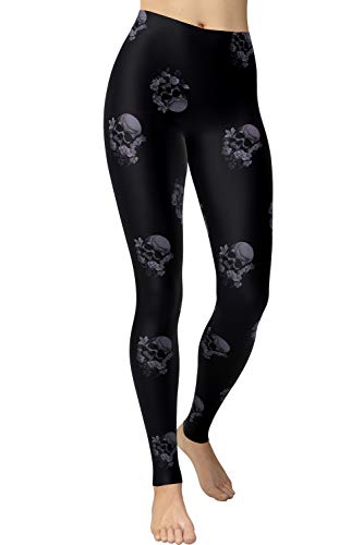 VIV Collection Plus Size Printed Brushed Ultra Soft Leggings (Ghost Floral Skull)