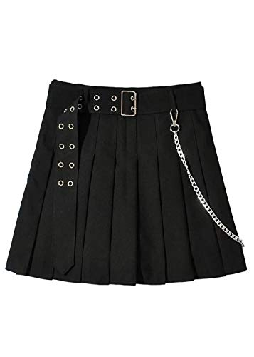TOPVEST Buckle Belt Pleated Mini Skirt Gothic Punk Iron Chain A Line Skirts with Lining