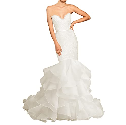 Wedding Dress Mermaid Strapless Bridal Dress Lace Long Wedding Gown with Cascading Ruffles White...