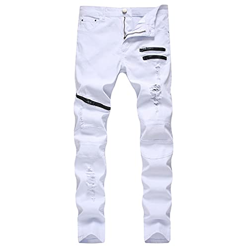 Men's Casual Slim Fit Solid Color Jeans Ripped Skinny Holes Denim Pants Distressed Destroyed Jean...