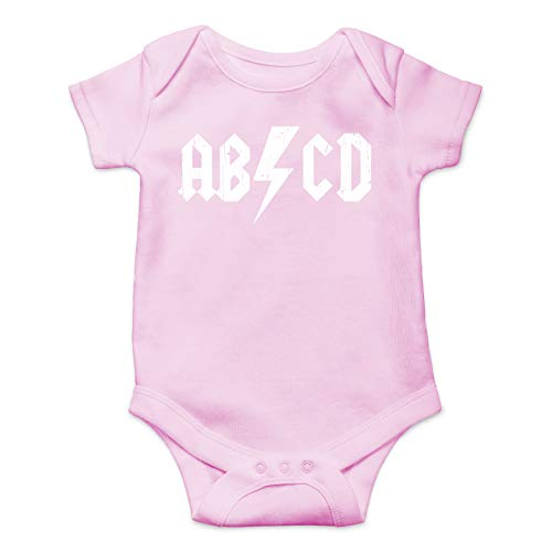ABCD Alphabet Rock And Roll Cute Funny One Piece Future Rockstar Hilarious Baby Infant Romper (Pink,...