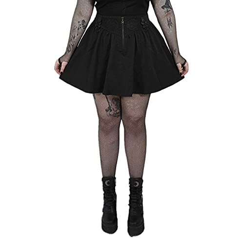NC PUNKRAVE Women's Gothic Front Middle Oval Tree Pattern Decal Half Skirt A-line High Waist Daily...
