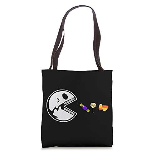 Skeleton Eats Candy Funny Halloween Lovers Tote Bag