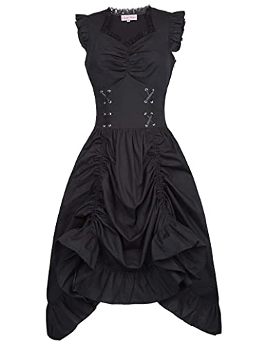 Belle Poque Victorian Steampunk Gothic Dress Sleeveless High Low Dress for Wedding S Black