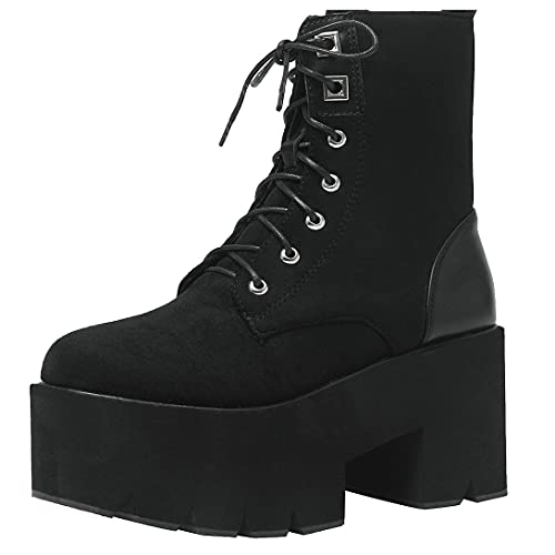 Agodor Women's Platform Chunky High Heels Lace up Combat Boots Fashion Gothic Ankle Boots (US 6,...