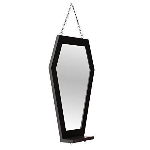 Coffin Mirror - Coffin Mirror with Shelf for Black Gothic Decor, Hanging Wall Mounted Mirror with...