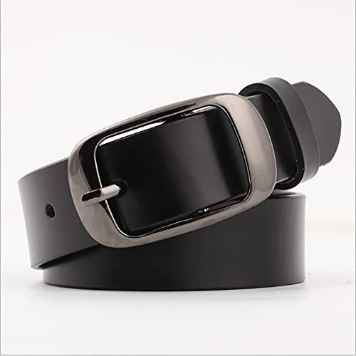Fashion Women Real-Leather Casual Jeans Belt with Pin Buckle Full Grain-Leather-Belt (Black, Medium)