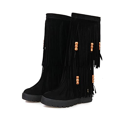 Women Fringe Mid Calf Boots Round Toe Platform Flat Height Increase Comfortable Faux Suede Boots
