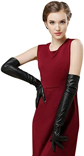 Bellady Womens Thin Opera Long Evening Dress Texting Touchscreen Leather Gloves,Black