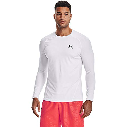 Under Armour Men's Armour HeatGear Fitted Long-Sleeve T-Shirt , White (100)/Black , X-Small