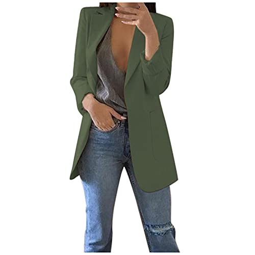 Women Coat Solid Open Front Pockets Cardigan Formal Suit Long Sleeve Blouse Tops Slim Army Green