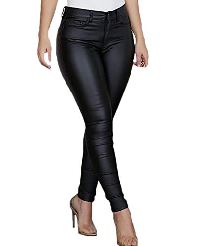 Andongnywell Womens Stretch Faux Leather Leggings High Waisted Winter Sexy Skinny Tights Pants...