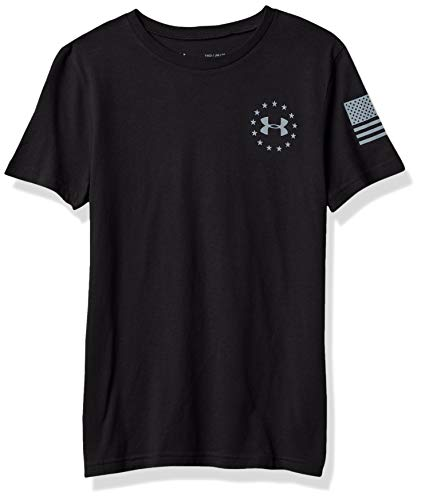 Under Armour Boys' Freedom Flag T-Shirt , Black (001)/Steel , Youth Large