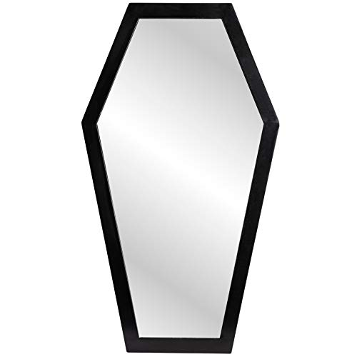 Gothic Curiosities Large Coffin Mirror - 23 Inch Gothic Decor for Bedroom Or Bathroom - Hooks and...