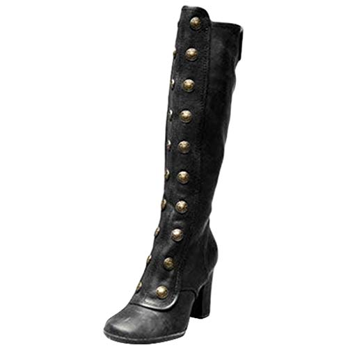 Toimothcn Women Knee High Boots Vintage Gothic Pirate Booties Square High Heels Snow Boots Shoes...