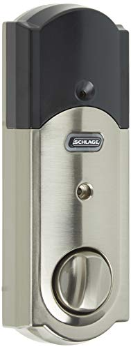 SCHLAGE Z-Wave Connect Camelot Touchscreen Deadbolt with Built-In Alarm, Satin Nickel, BE469 CAM...
