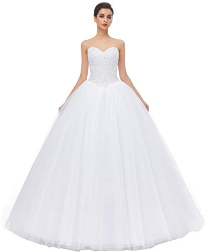 Likedpage Women's Ball Gown Bridal Wedding Dresses (US4, White)