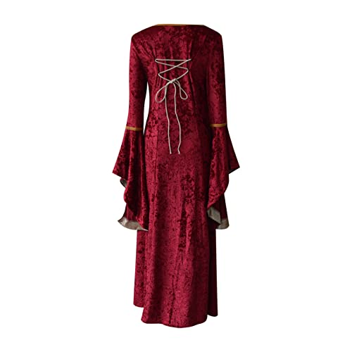 Womens Medieval Dress, Women's Vintage Long Renaissance Gothic Cosplay Dress Middle Ages Party Dress...