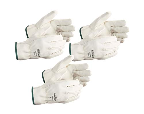 SAFEGEAR 3-pk. Cowhide Leather Work Gloves with Keystone Thumb - XL Driver Safety Gloves for Men or...