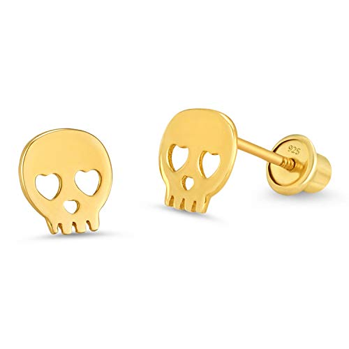 14k Gold Plated Brass Skull Screwback Baby Girls Earrings with Sterling Silver Post