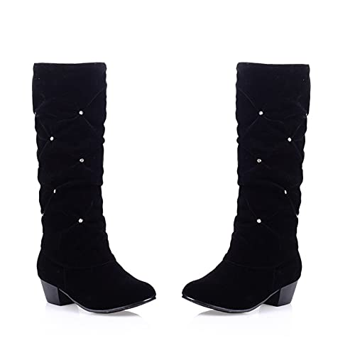 Women's Wide Shaft Slouch Boots Round Toe Mid Calf Dress Boot Chunky Low Heel Rhinestone Fashion...