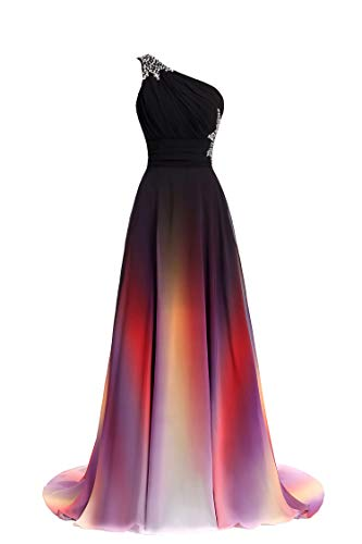 ANGELA One Shoulder Ombre Long Evening Prom Dresses Chiffon Wedding Party Gowns 8