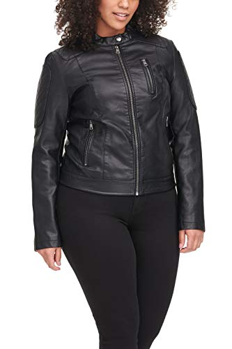 Levi's Women's Faux Leather Motocross Racer Jacket (Standard and Plus), Black, Small