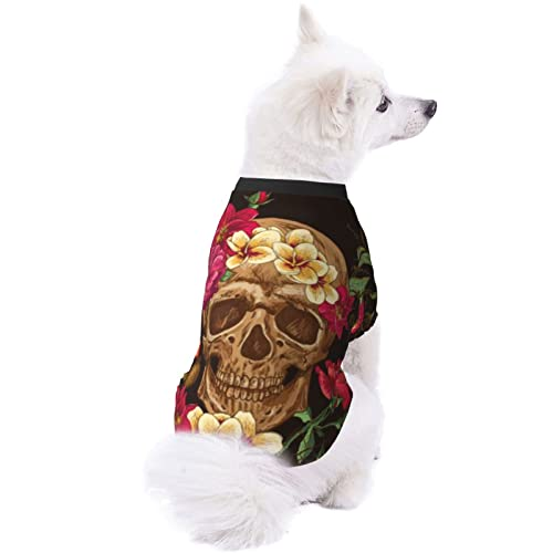 UIZTFUVCO Floral Sugar Skull Day of The Dead Dog Clothes, Cute Dog Pajamas, Dog Shirt for Small...